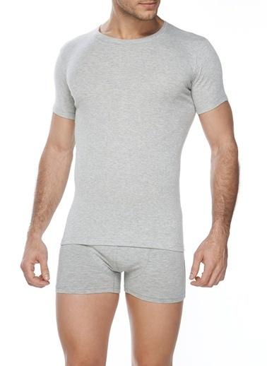 SVM Likralı Yuvarlak Yaka T-Shirt Gri